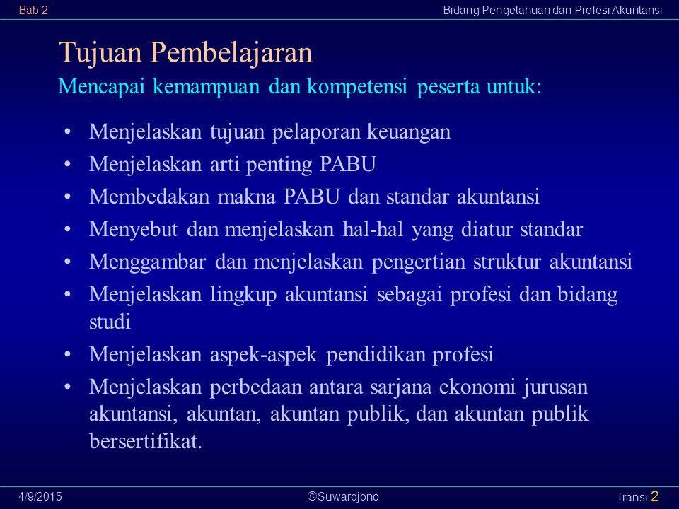  Suwardjono Bab 2Bidang Pengetahuan dan Profesi Akuntansi 4/9/2015 Transi 13 Definisi (definition): Makna yang dilekatkan pada elemen, pos, dan istilah yang digunakan dalam pelaporan keuangan.