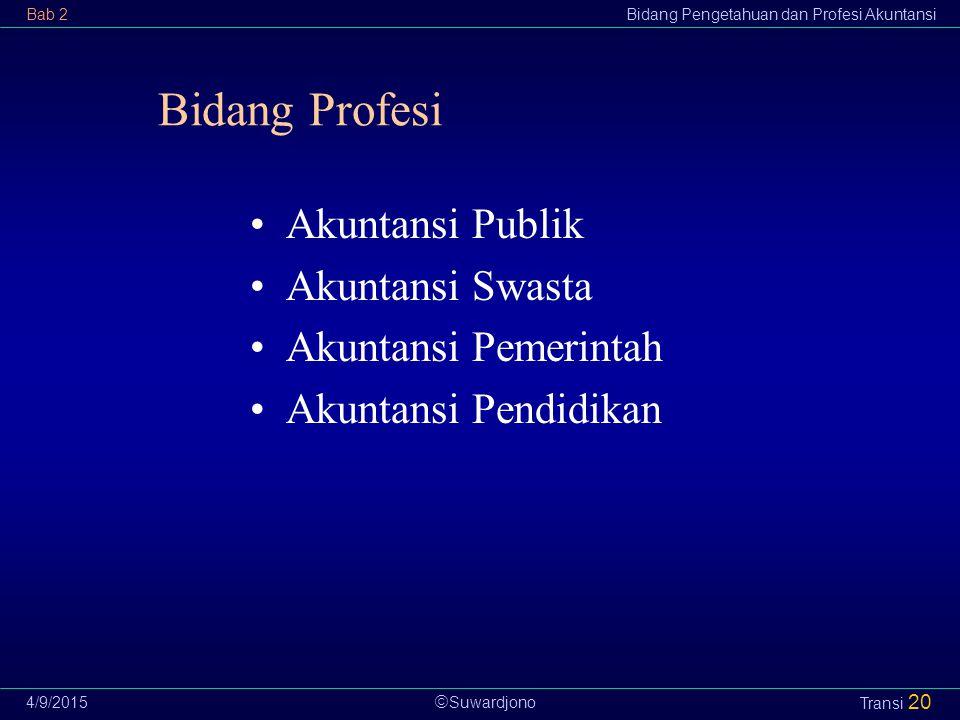  Suwardjono Bab 2Bidang Pengetahuan dan Profesi Akuntansi 4/9/2015 Transi 20 Bidang Profesi Akuntansi Publik Akuntansi Swasta Akuntansi Pemerintah Ak