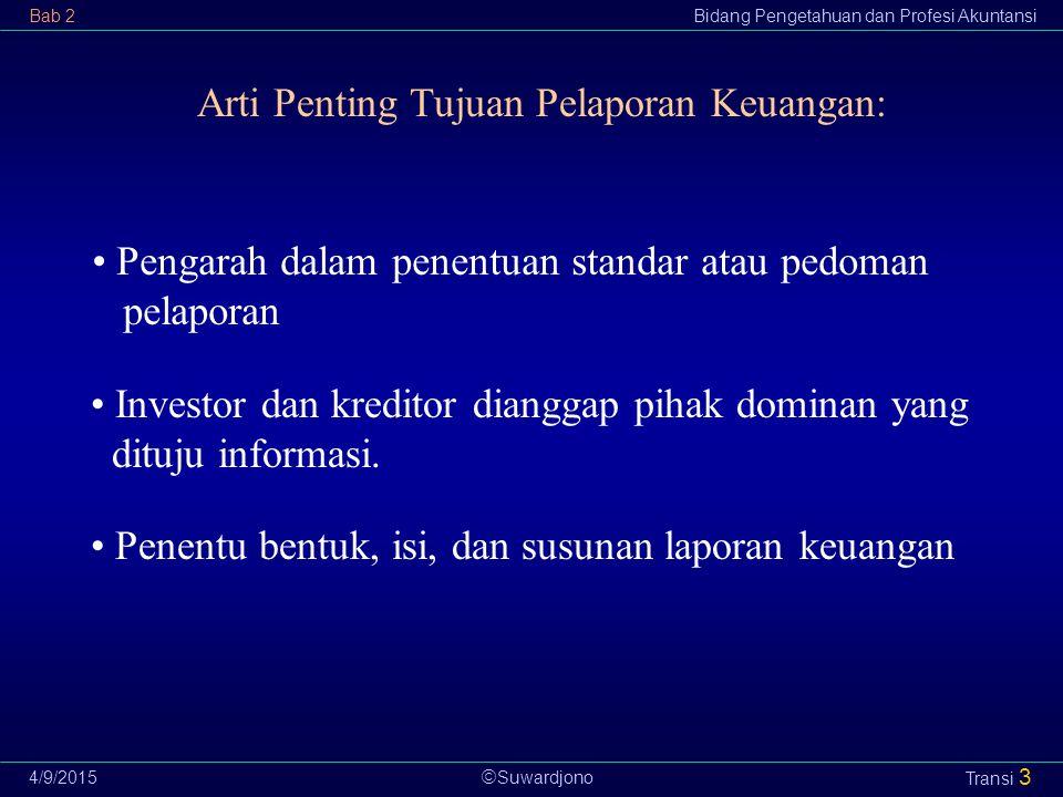  Suwardjono Bab 2Bidang Pengetahuan dan Profesi Akuntansi 4/9/2015 Transi 14 Pengukuran (measurement): Penentuan kos suatu elemen atau pos pelaporan keuangan yang terlibat dalam suatu transaksi.