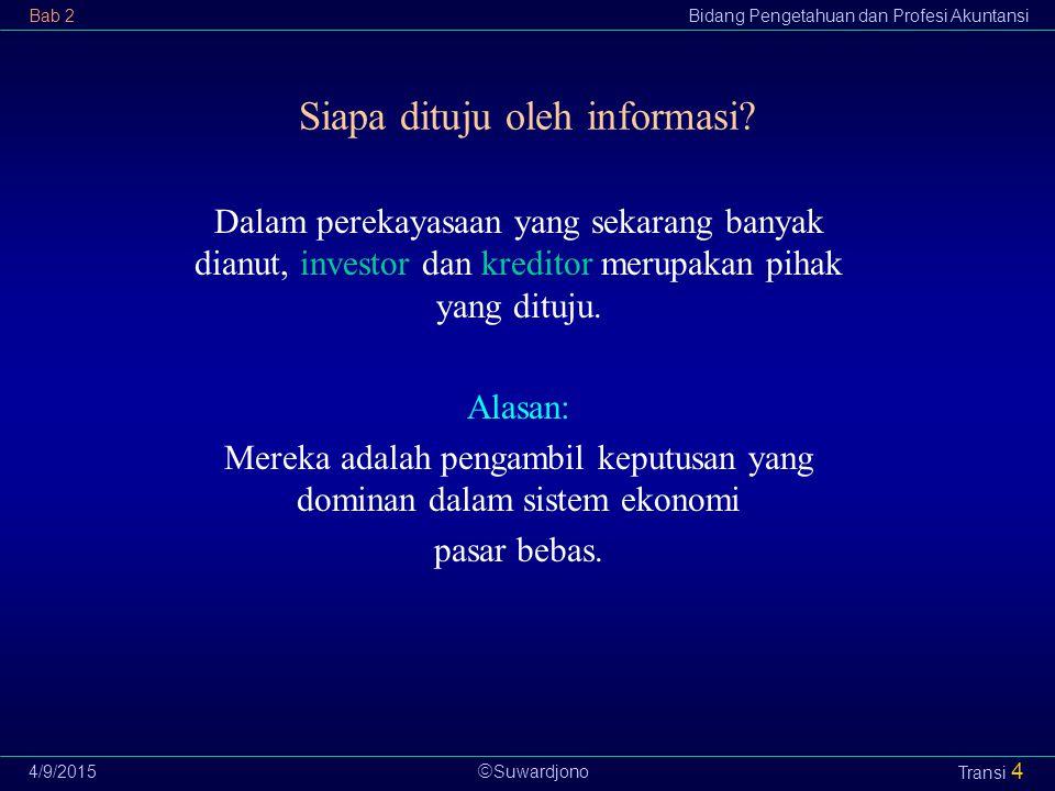  Suwardjono Bab 2Bidang Pengetahuan dan Profesi Akuntansi 4/9/2015 Transi 4 Siapa dituju oleh informasi? Dalam perekayasaan yang sekarang banyak dian