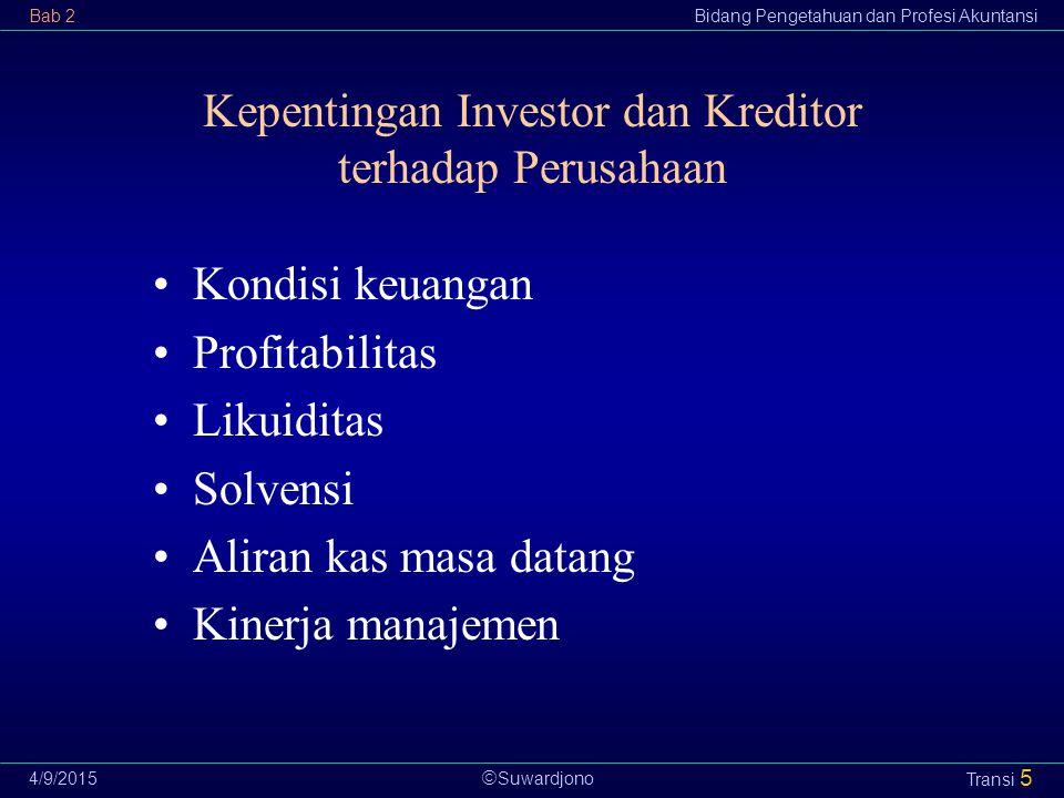  Suwardjono Bab 2Bidang Pengetahuan dan Profesi Akuntansi 4/9/2015 Transi 5 Kepentingan Investor dan Kreditor terhadap Perusahaan Kondisi keuangan Pr