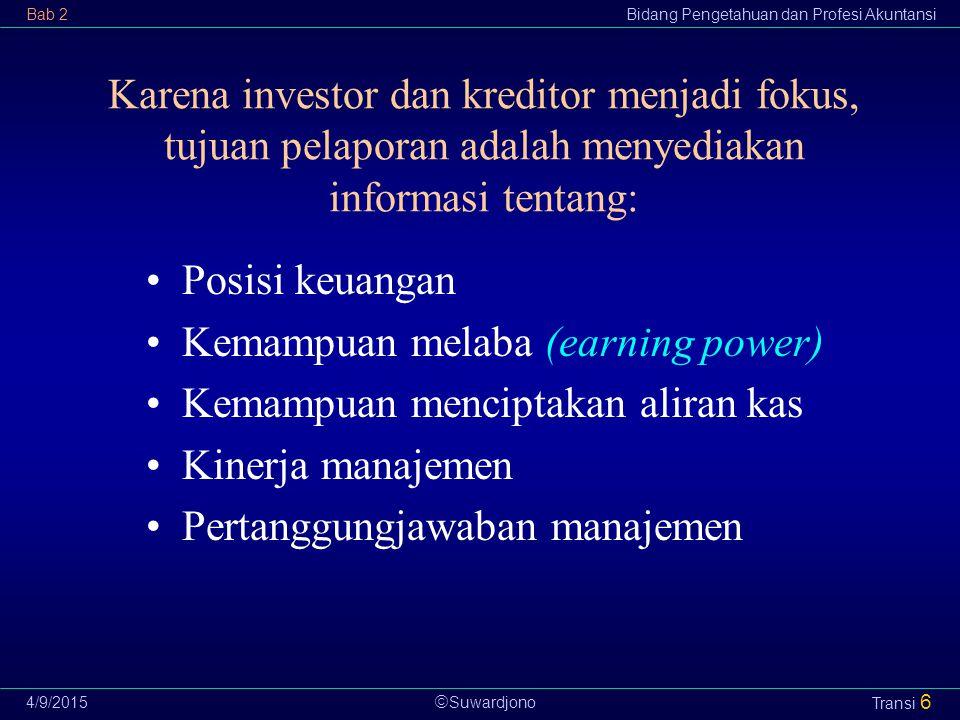  Suwardjono Bab 2Bidang Pengetahuan dan Profesi Akuntansi 4/9/2015 Transi 6 Karena investor dan kreditor menjadi fokus, tujuan pelaporan adalah menye