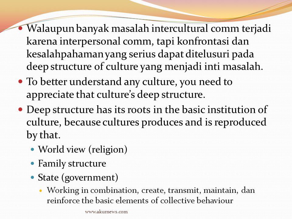 Walaupun banyak masalah intercultural comm terjadi karena interpersonal comm, tapi konfrontasi dan kesalahpahaman yang serius dapat ditelusuri pada deep structure of culture yang menjadi inti masalah.