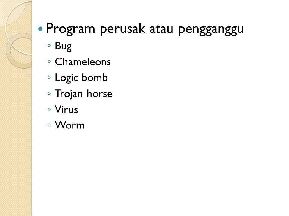 Program perusak atau pengganggu ◦ Bug ◦ Chameleons ◦ Logic bomb ◦ Trojan horse ◦ Virus ◦ Worm