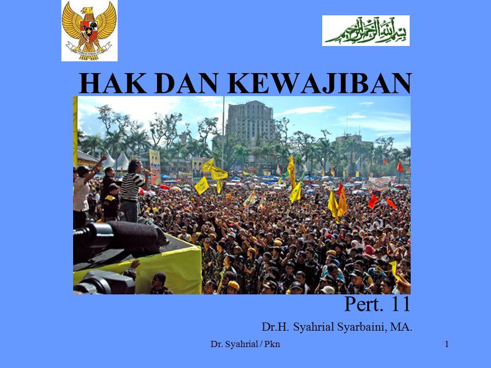Dr. Syahrial / Pkn1 HAK DAN KEWAJIBAN Pert. 11 Dr.H. Syahrial Syarbaini, MA.