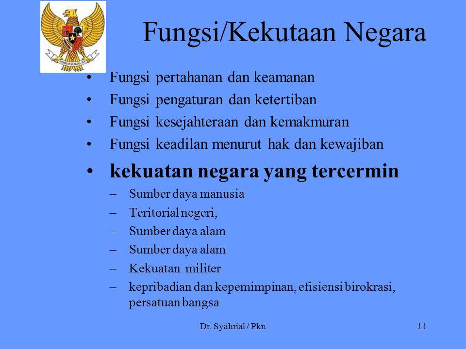 Dr. Syahrial / Pkn11 Fungsi/Kekutaan Negara Fungsi pertahanan dan keamanan Fungsi pengaturan dan ketertiban Fungsi kesejahteraan dan kemakmuran Fungsi