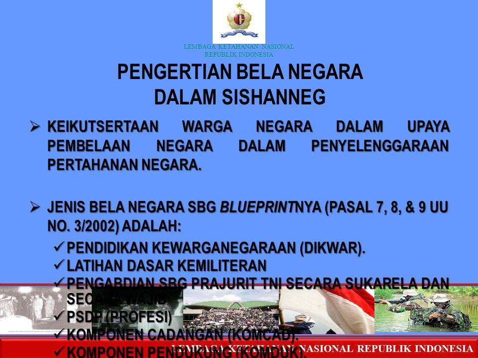 LEMBAGA KETAHANAN NASIONAL REPUBLIK INDONESIA PENGERTIAN BELA NEGARA DALAM SISHANNEG  KEIKUTSERTAAN WARGA NEGARA DALAM UPAYA PEMBELAAN NEGARA DALAM P