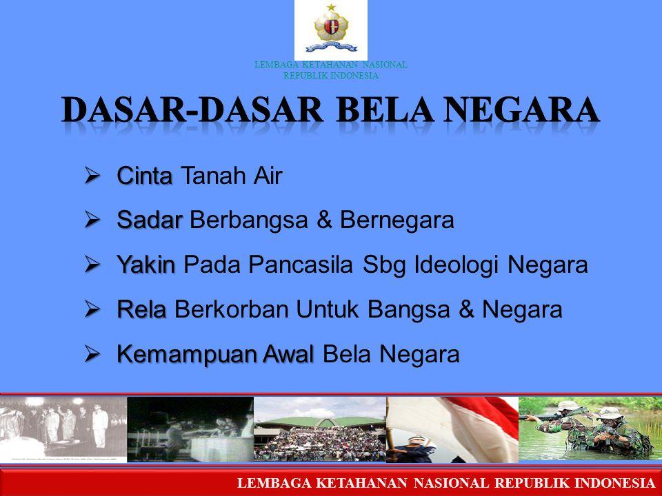 LEMBAGA KETAHANAN NASIONAL REPUBLIK INDONESIA LEMBAGA KETAHANAN NASIONAL REPUBLIK INDONESIA  Cinta  Cinta Tanah Air  Sadar  Sadar Berbangsa & Bern