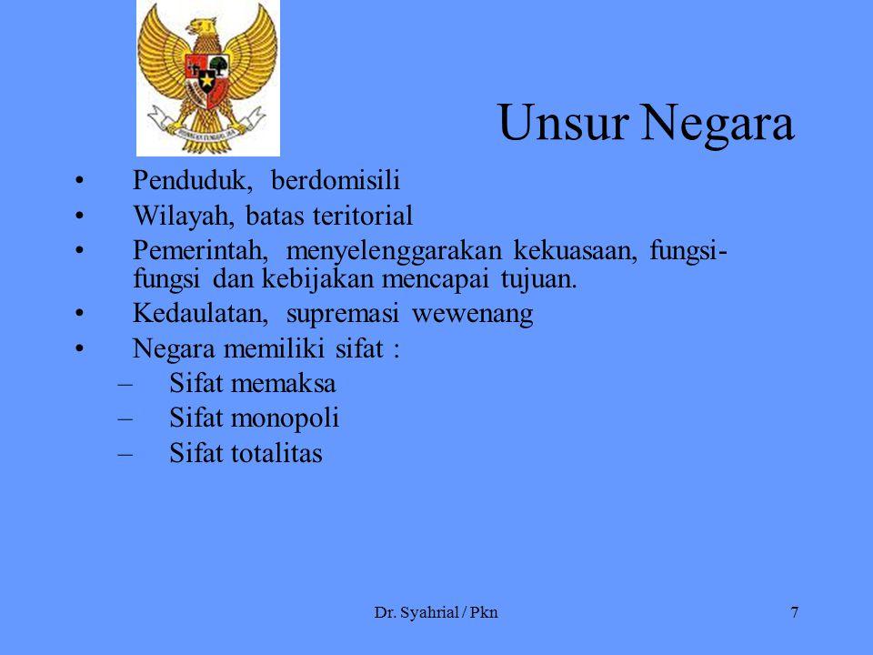 Dr. Syahrial / Pkn7 Unsur Negara Penduduk, berdomisili Wilayah, batas teritorial Pemerintah, menyelenggarakan kekuasaan, fungsi- fungsi dan kebijakan