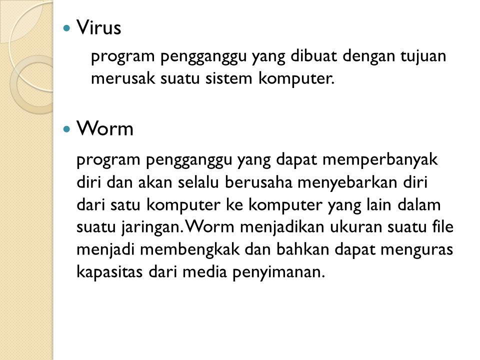 Virus program pengganggu yang dibuat dengan tujuan merusak suatu sistem komputer. Worm program pengganggu yang dapat memperbanyak diri dan akan selalu