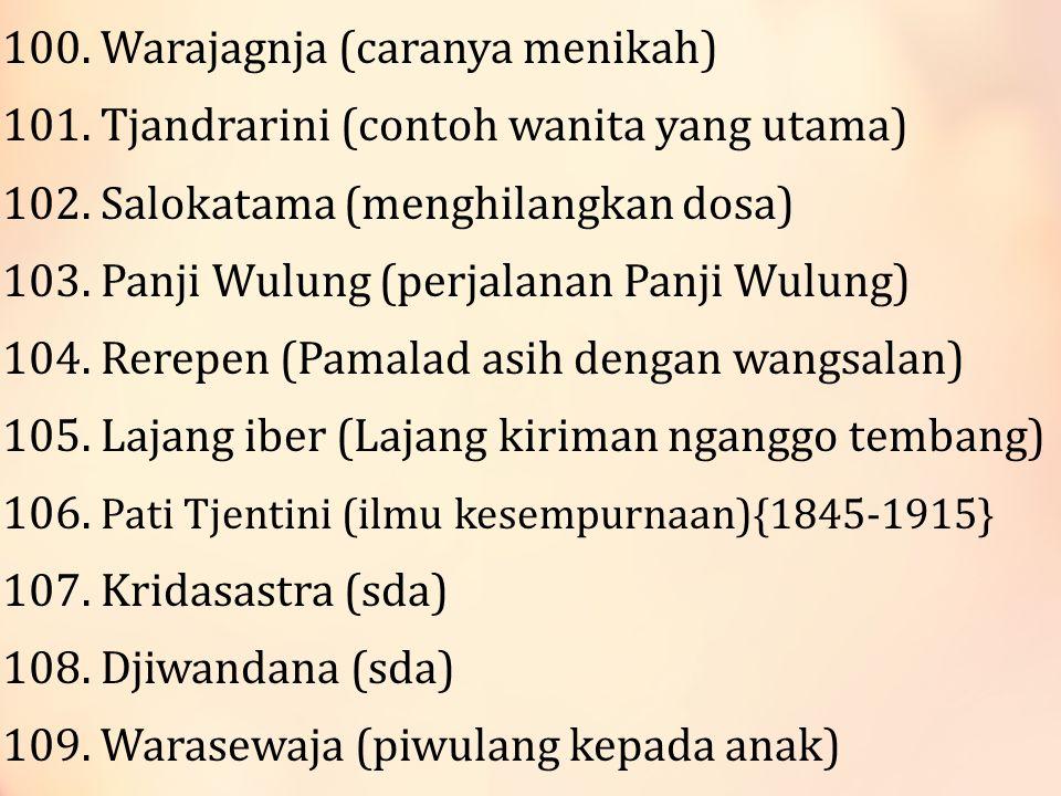 100.Warajagnja (caranya menikah) 101. Tjandrarini (contoh wanita yang utama) 102.