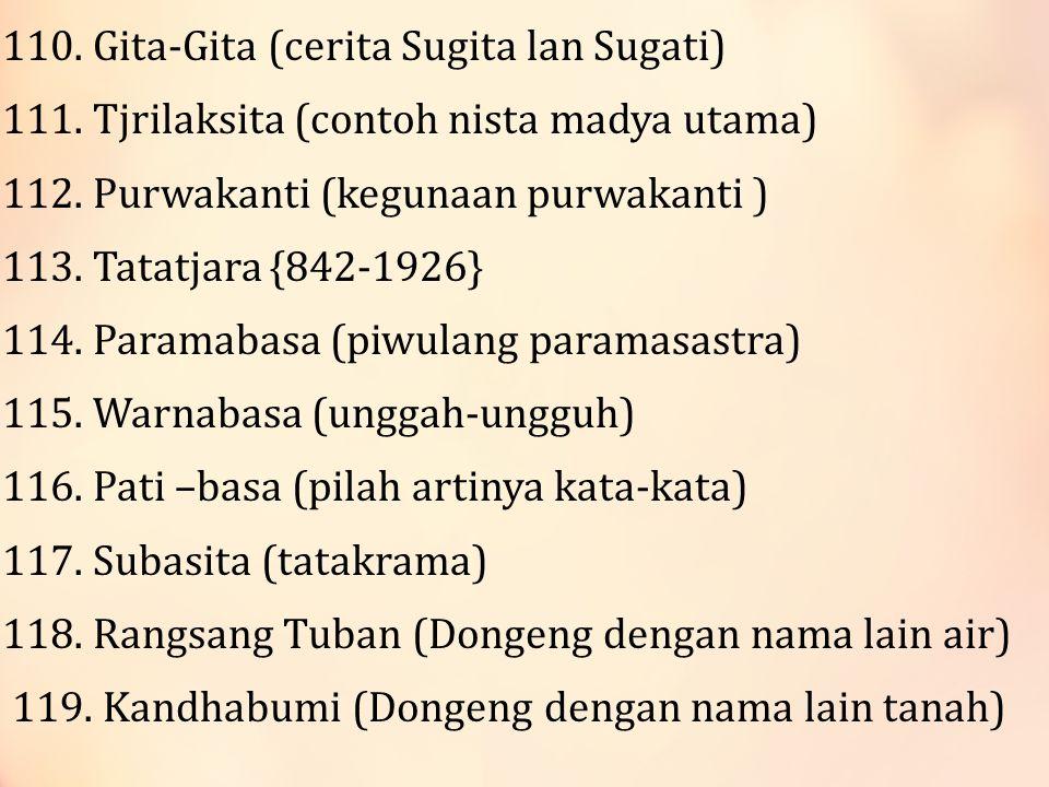 110.Gita-Gita (cerita Sugita lan Sugati) 111. Tjrilaksita (contoh nista madya utama) 112.