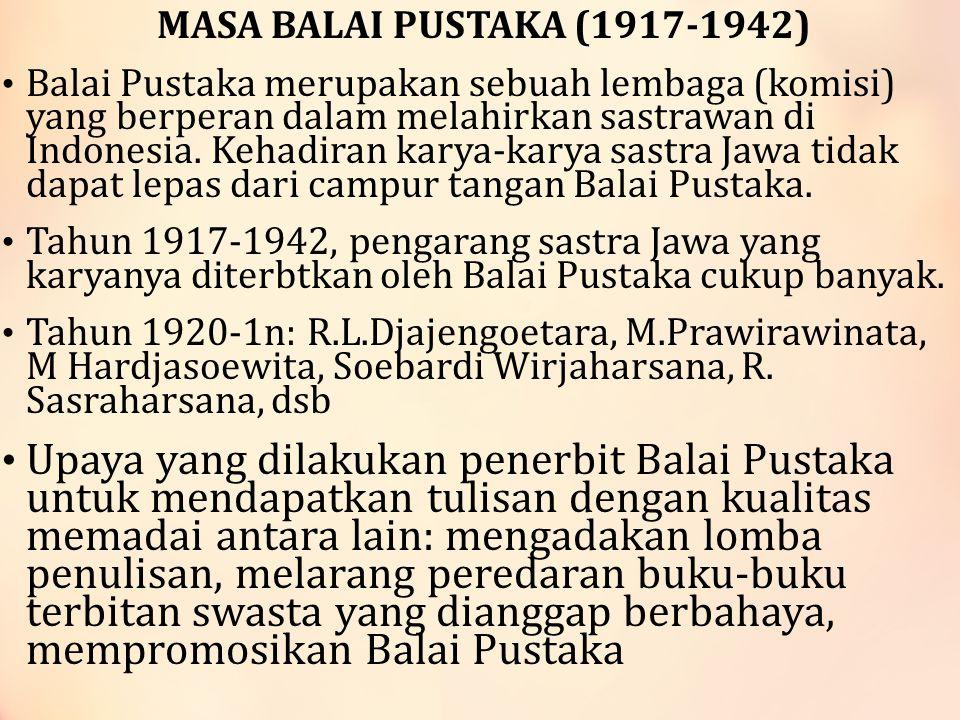 MASA BALAI PUSTAKA (1917-1942) Balai Pustaka merupakan sebuah lembaga (komisi) yang berperan dalam melahirkan sastrawan di Indonesia.