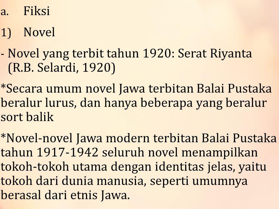 a.Fiksi 1) Novel - Novel yang terbit tahun 1920: Serat Riyanta (R.B.