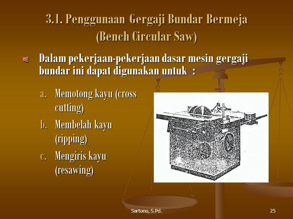 Sartono, S.Pd.25 3.1. Penggunaan Gergaji Bundar Bermeja (Bench Circular Saw) a.Memotong kayu (cross cutting) b.Membelah kayu (ripping) c.Mengiris kayu