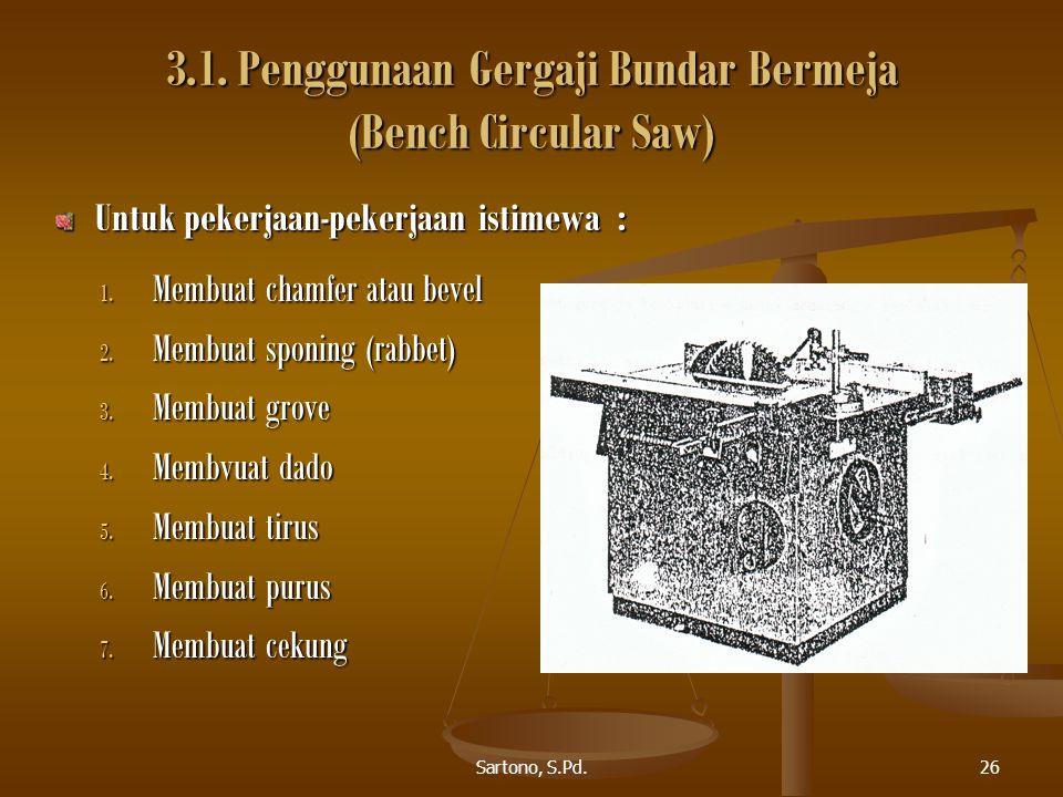 Sartono, S.Pd.26 3.1. Penggunaan Gergaji Bundar Bermeja (Bench Circular Saw) 1. Membuat chamfer atau bevel 2. Membuat sponing (rabbet) 3. Membuat grov