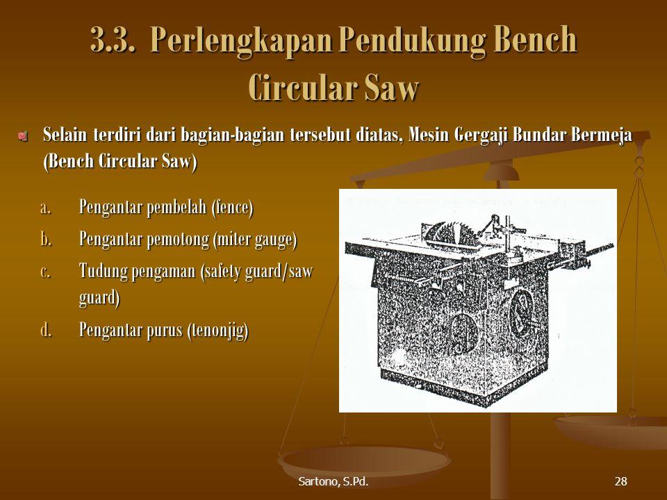 Sartono, S.Pd.28 3.3. Perlengkapan Pendukung Bench Circular Saw Selain terdiri dari bagian-bagian tersebut diatas, Mesin Gergaji Bundar Bermeja (Bench