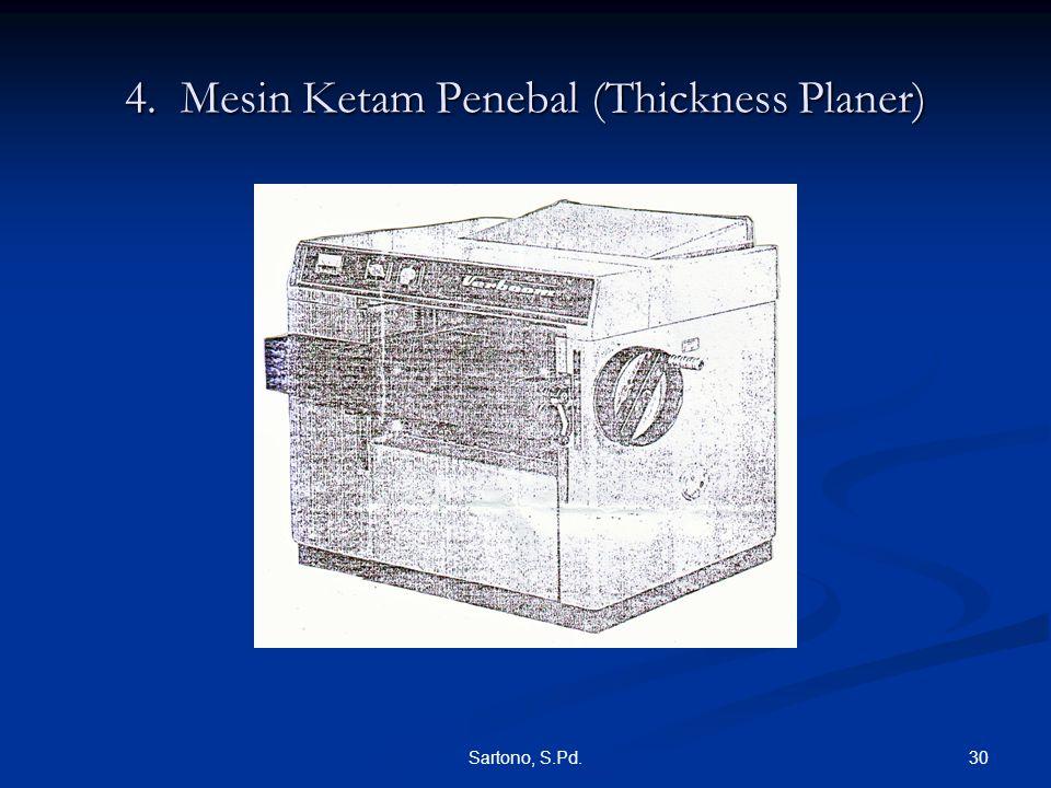 30Sartono, S.Pd. 4. Mesin Ketam Penebal (Thickness Planer)