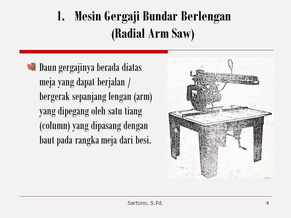 Sartono, S.Pd.4 1.Mesin Gergaji Bundar Berlengan (Radial Arm Saw) Daun gergajinya berada diatas meja yang dapat berjalan / bergerak sepanjang lengan (