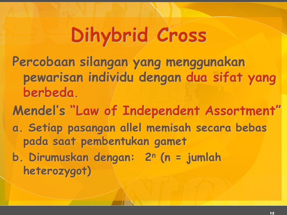 """12 Dihybrid Cross Percobaan silangan yang menggunakan pewarisan individu dengan dua sifat yang berbeda. Mendel's """"Law of Independent Assortment"""" a. Se"""