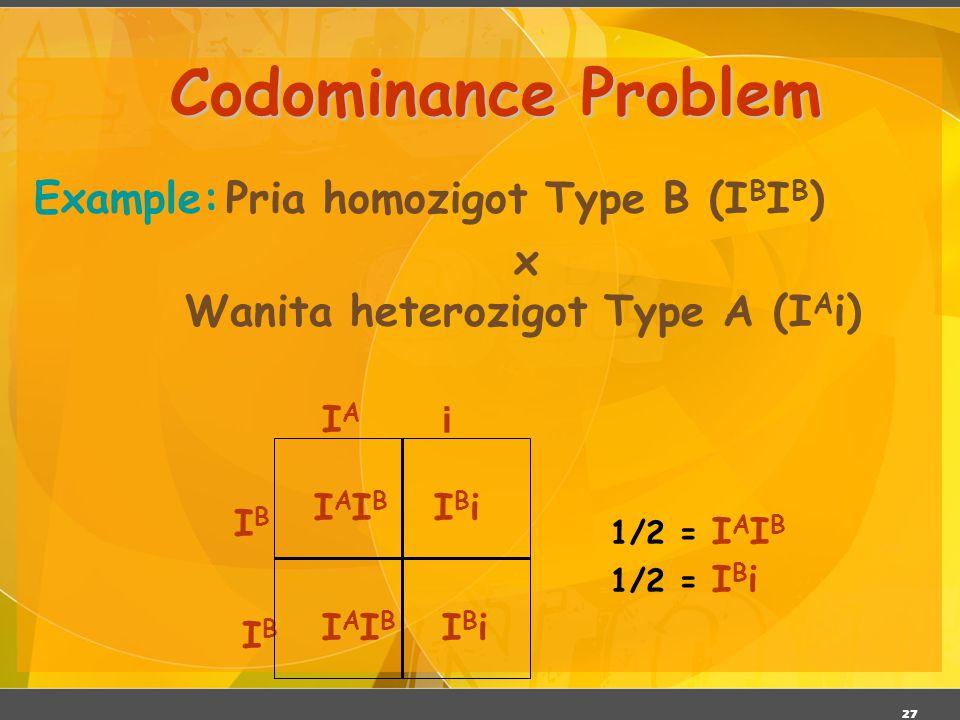 27 Codominance Problem Example:Pria homozigot Type B (I B I B ) x Wanita heterozigot Type A (I A i) IAIBIAIB IBiIBi IAIBIAIB IBiIBi 1/2 = I A I B 1/2