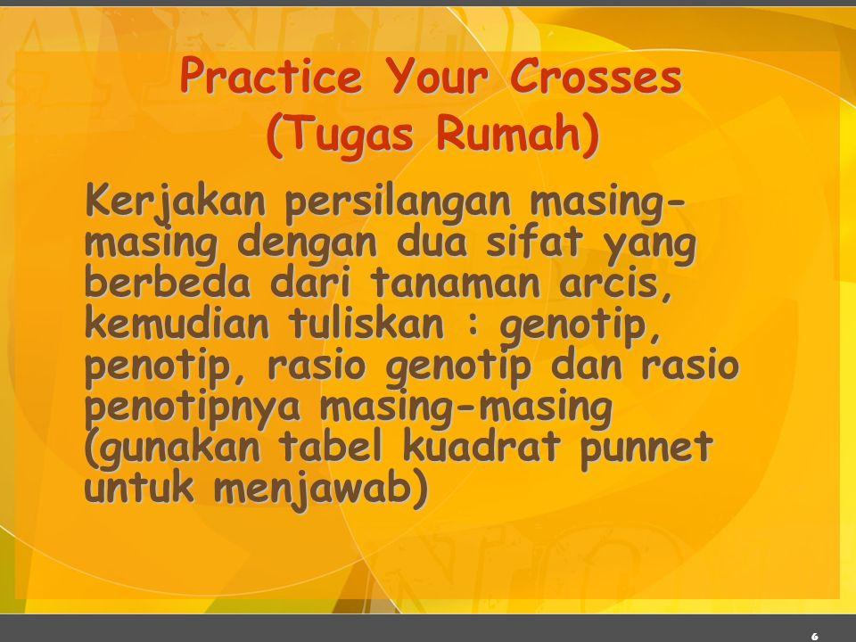 6 Practice Your Crosses (Tugas Rumah) Kerjakan persilangan masing- masing dengan dua sifat yang berbeda dari tanaman arcis, kemudian tuliskan : genoti