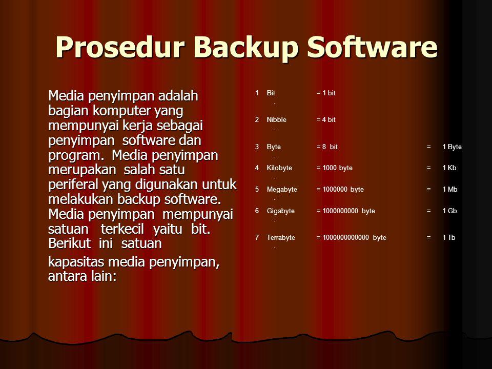 Prosedur Backup Software Media penyimpan adalah bagian komputer yang mempunyai kerja sebagai penyimpan software dan program. Media penyimpan merupakan