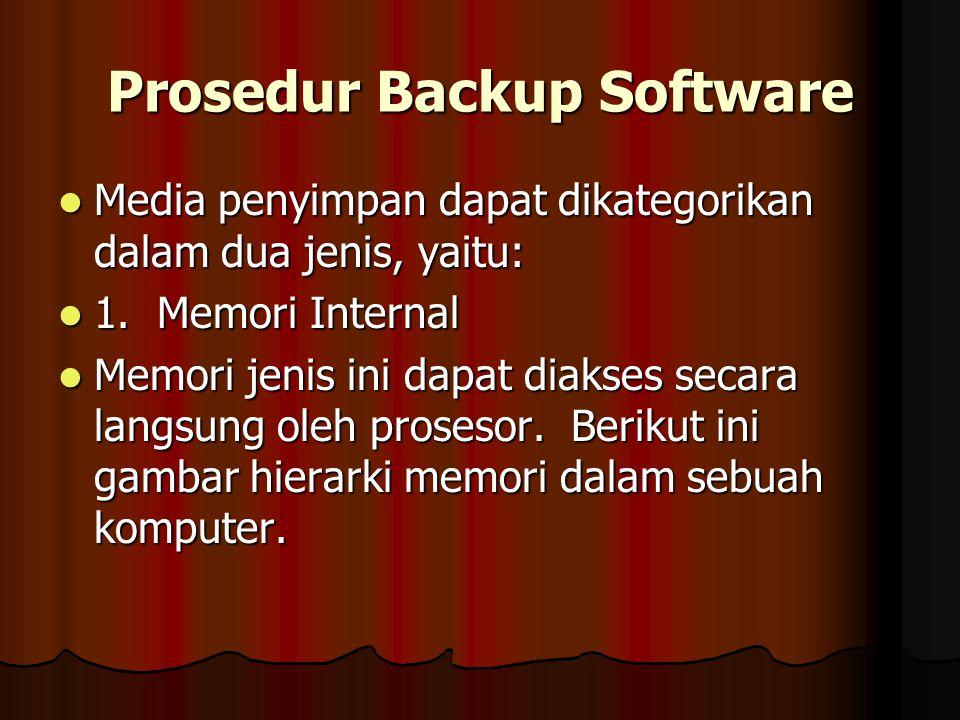 Prosedur Backup Software Media penyimpan dapat dikategorikan dalam dua jenis, yaitu: Media penyimpan dapat dikategorikan dalam dua jenis, yaitu: 1. Me