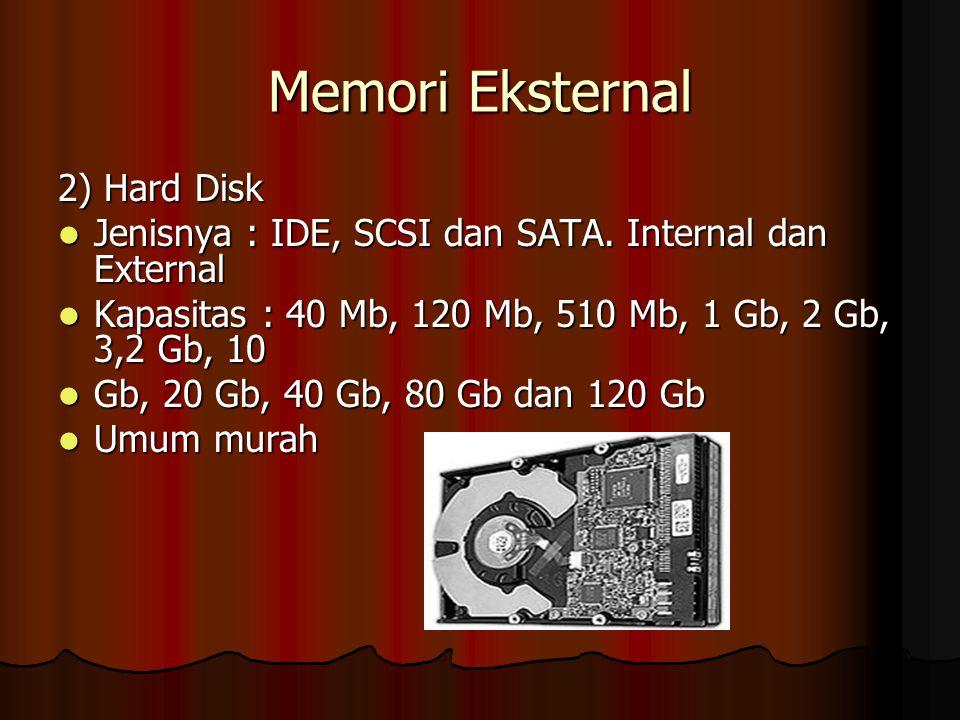 Memori Eksternal 2) Hard Disk Jenisnya : IDE, SCSI dan SATA. Internal dan External Jenisnya : IDE, SCSI dan SATA. Internal dan External Kapasitas : 40