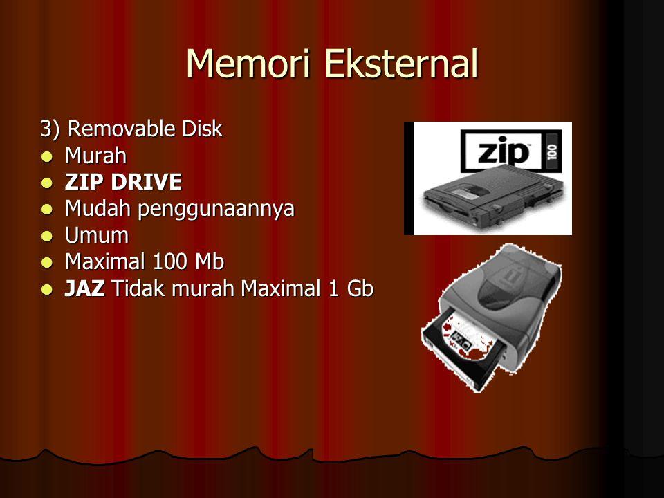 Memori Eksternal 3) Removable Disk Murah Murah ZIP DRIVE ZIP DRIVE Mudah penggunaannya Mudah penggunaannya Umum Umum Maximal 100 Mb Maximal 100 Mb JAZ