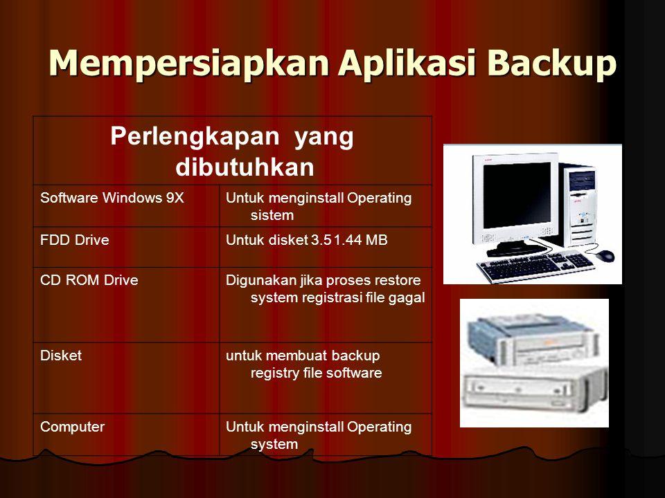 Mempersiapkan Aplikasi Backup Perlengkapan yang dibutuhkan Software Windows 9XUntuk menginstall Operating sistem FDD DriveUntuk disket 3.51.44 MB CD R