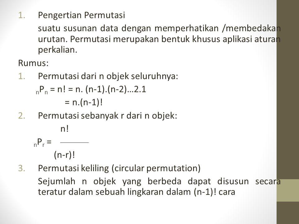 4.Permutasi dari n objek yang tidak seluruhnya dapat dibedakan: n n.