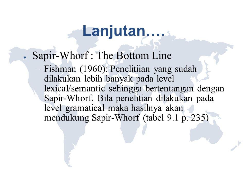 Lanjutan…. ● Sapir-Whorf : The Bottom Line  Fishman (1960): Penelitiian yang sudah dilakukan lebih banyak pada level lexical/semantic sehingga berten