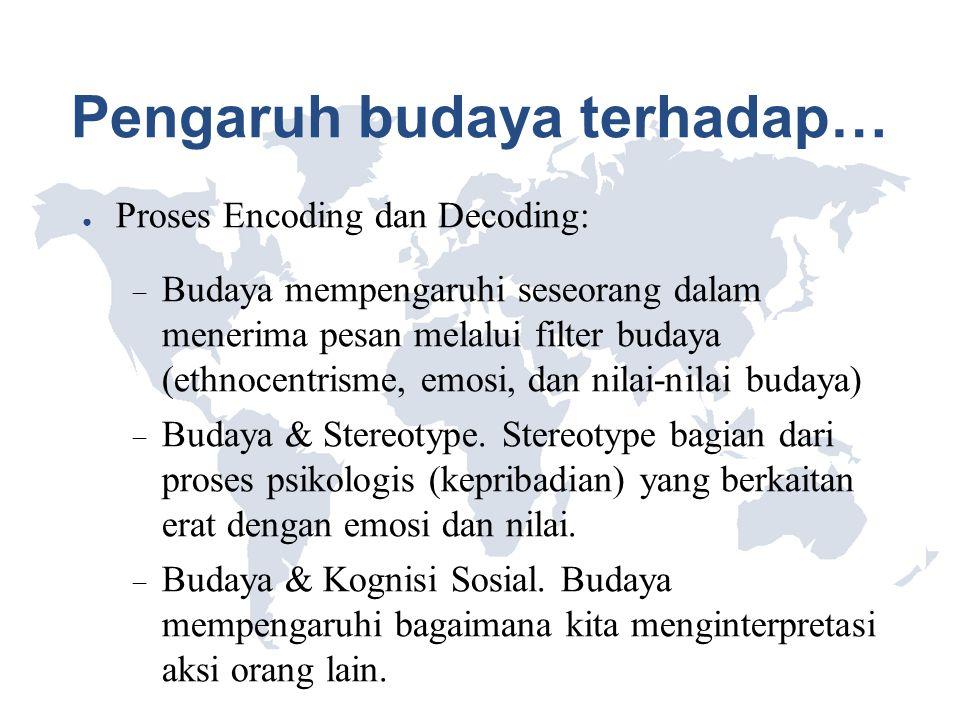 Pengaruh budaya terhadap… ● Proses Encoding dan Decoding:  Budaya mempengaruhi seseorang dalam menerima pesan melalui filter budaya (ethnocentrisme,