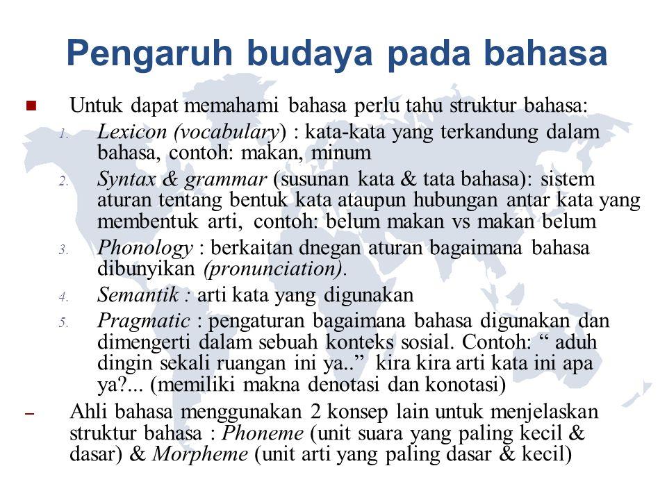 Pengaruh budaya pada bahasa Untuk dapat memahami bahasa perlu tahu struktur bahasa: 1. Lexicon (vocabulary) : kata-kata yang terkandung dalam bahasa,
