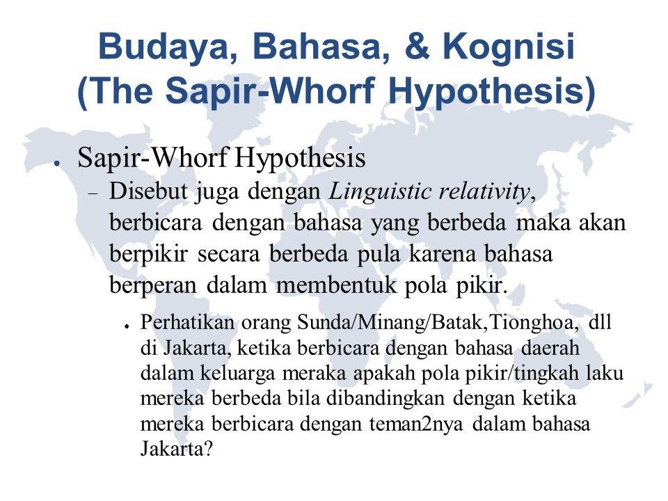 Budaya, Bahasa, & Kognisi (The Sapir-Whorf Hypothesis) ● Sapir-Whorf Hypothesis  Disebut juga dengan Linguistic relativity, berbicara dengan bahasa y
