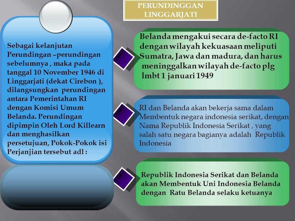 PERUNDINGGAN LINGGARJATI Belanda mengakui secara de-facto RI dengan wilayah kekuasaan meliputi Sumatra, Jawa dan madura, dan harus meninggalkan wilaya