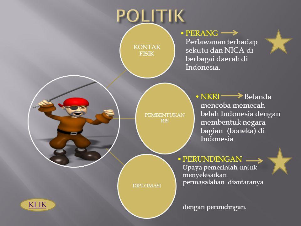 KONTAK FISIK PERANG Perlawanan terhadap sekutu dan NICA di berbagai daerah di Indonesia. PEMBENTUKAN RIS NKRI Belanda mencoba memecah belah Indonesia
