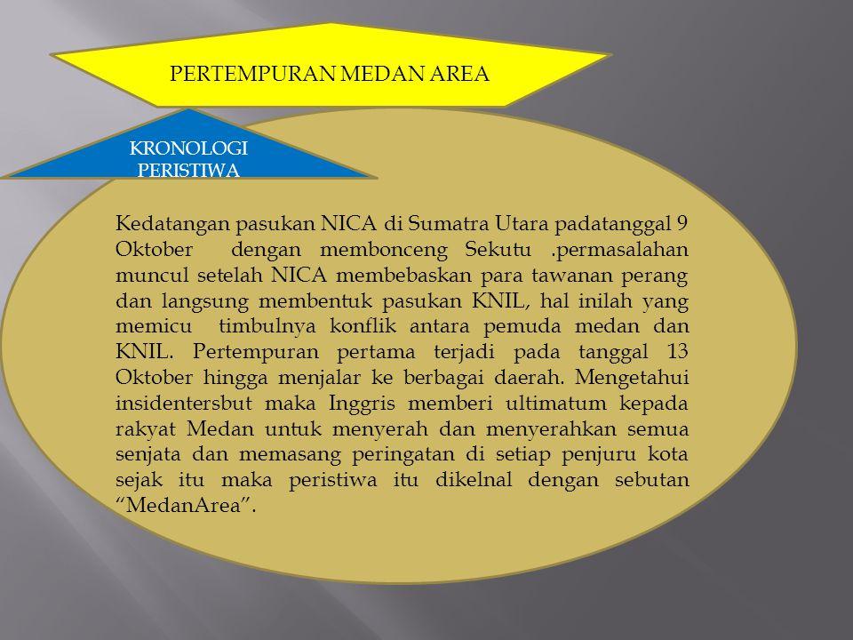 PERTEMPURAN MEDAN AREA KRONOLOGI PERISTIWA Kedatangan pasukan NICA di Sumatra Utara padatanggal 9 Oktober dengan membonceng Sekutu.permasalahan muncul