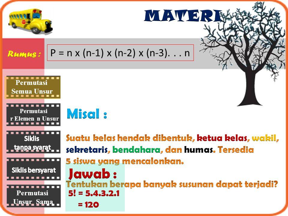 Permutasi r Elemen n Unsur Permutasi Unsur Sama P = n x (n-1) x (n-2) x (n-3)...