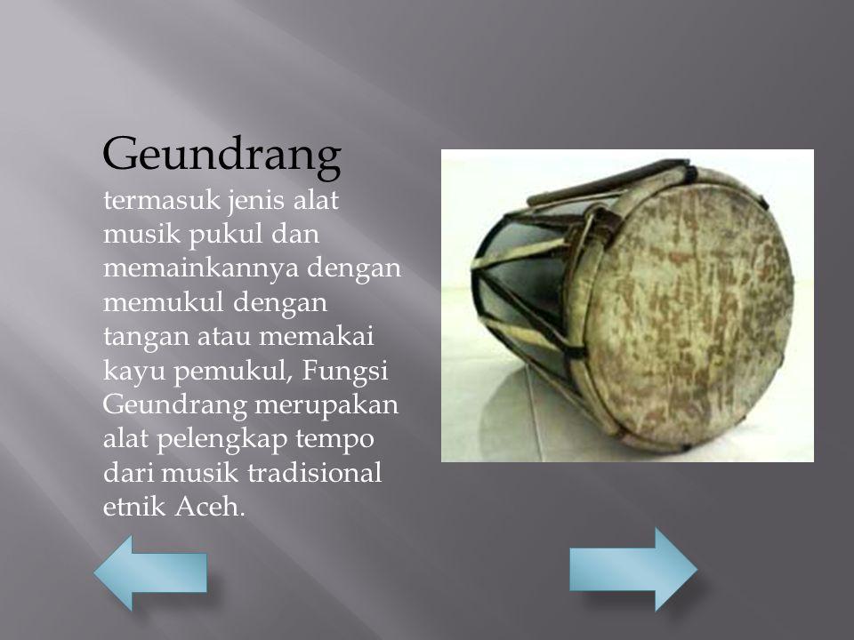 Geundrang termasuk jenis alat musik pukul dan memainkannya dengan memukul dengan tangan atau memakai kayu pemukul, Fungsi Geundrang merupakan alat pel