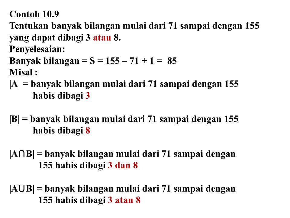 Contoh 10.9 Tentukan banyak bilangan mulai dari 71 sampai dengan 155 yang dapat dibagi 3 atau 8. Penyelesaian: Banyak bilangan = S = 155 – 71 + 1 = 85