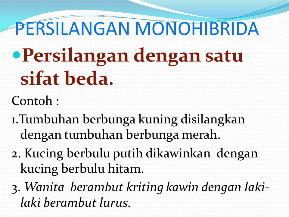 Persilangan (hibrida atau bastar) 1.Persilangan Monohibrida 2.