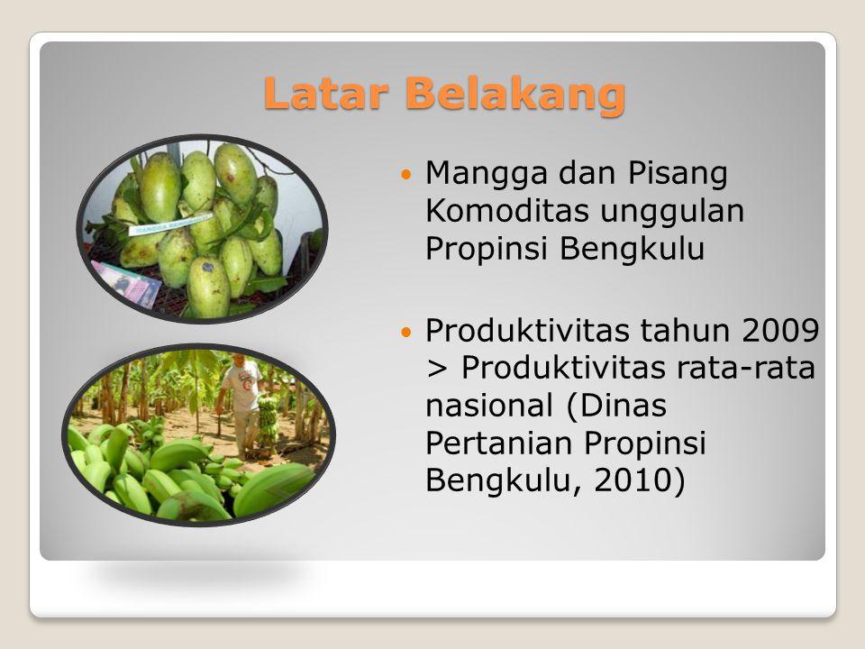 Latar Belakang Mangga dan Pisang Komoditas unggulan Propinsi Bengkulu Produktivitas tahun 2009 > Produktivitas rata-rata nasional (Dinas Pertanian Propinsi Bengkulu, 2010)