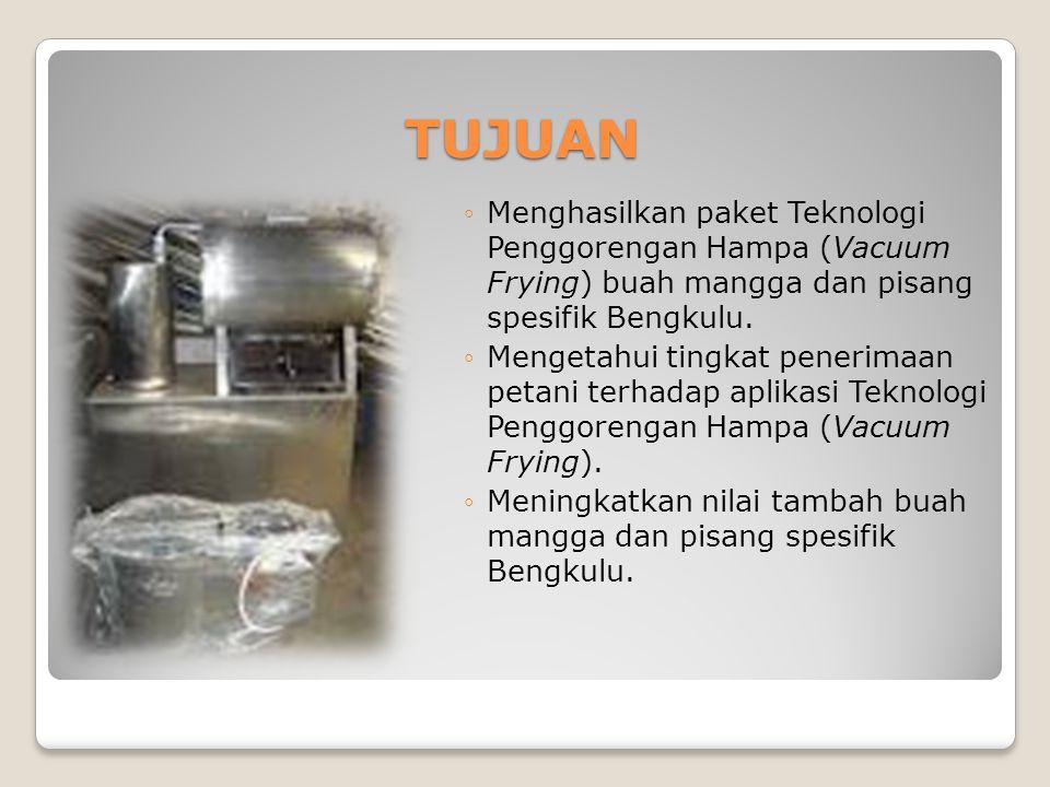 TUJUAN ◦Menghasilkan paket Teknologi Penggorengan Hampa (Vacuum Frying) buah mangga dan pisang spesifik Bengkulu.