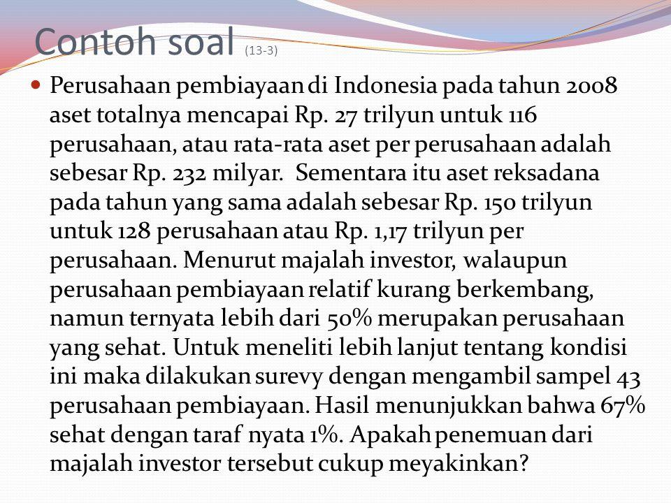 Contoh soal (13-3) Perusahaan pembiayaan di Indonesia pada tahun 2008 aset totalnya mencapai Rp. 27 trilyun untuk 116 perusahaan, atau rata-rata aset