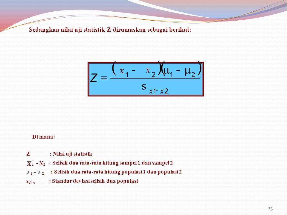 23 Sedangkan nilai uji statistik Z dirumuskan sebagai berikut: ()() 21 2121 xx Z - s  -  - = Di mana: Z : Nilai uji statistik 1 - 2 : Selisih dua ra