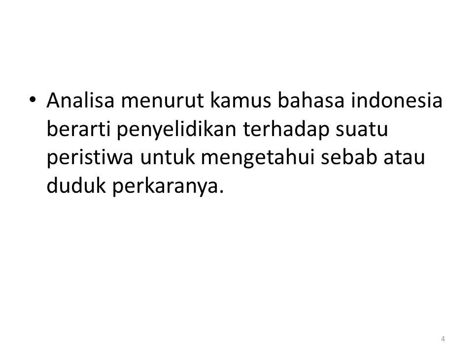 Analisa menurut kamus bahasa indonesia berarti penyelidikan terhadap suatu peristiwa untuk mengetahui sebab atau duduk perkaranya.