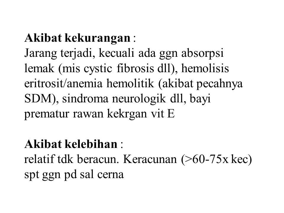 Akibat kekurangan : Jarang terjadi, kecuali ada ggn absorpsi lemak (mis cystic fibrosis dll), hemolisis eritrosit/anemia hemolitik (akibat pecahnya SD