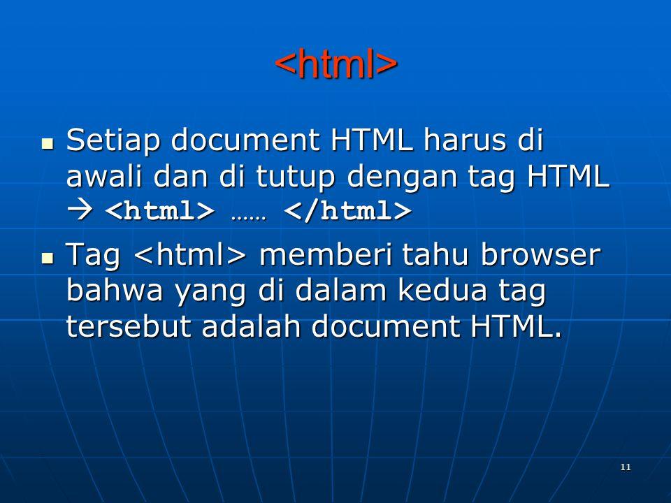 11 <html> Setiap document HTML harus di awali dan di tutup dengan tag HTML  …… Setiap document HTML harus di awali dan di tutup dengan tag HTML  …… Tag memberi tahu browser bahwa yang di dalam kedua tag tersebut adalah document HTML.